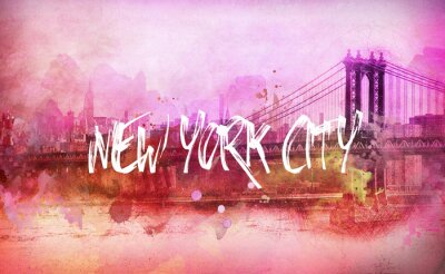 Poster Colorful artistico Panorama rosa New York