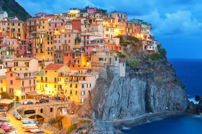 Poster Colorful houses at night in Manarola, Cinque terre Italy.