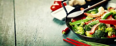 Poster colorful stir fry in a wok
