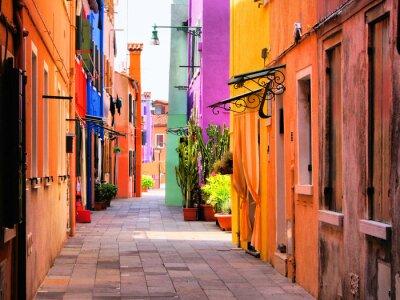 Poster Colorful strada a Burano, vicino a Venezia, Italia