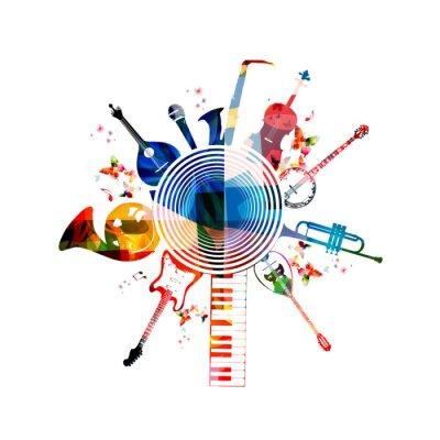 Poster Colorful strumenti musicali di sfondo