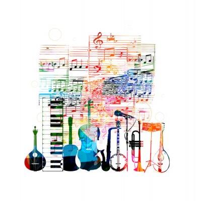 Poster Colorful strumenti musicali disegno