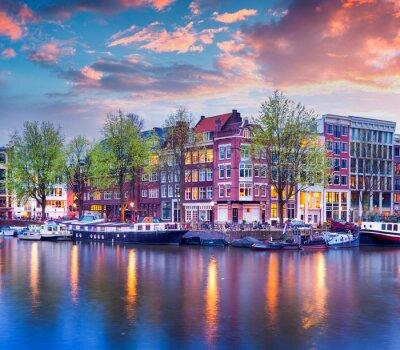 Poster Colorful tramonto di primavera sui canali di Amsterdam