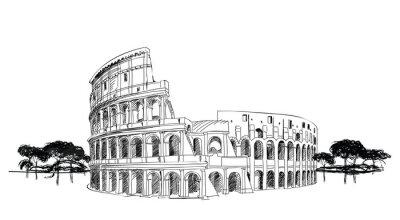 Poster Colosseo a Roma, Italia. Landmark Coliseum, il paesaggio della città.