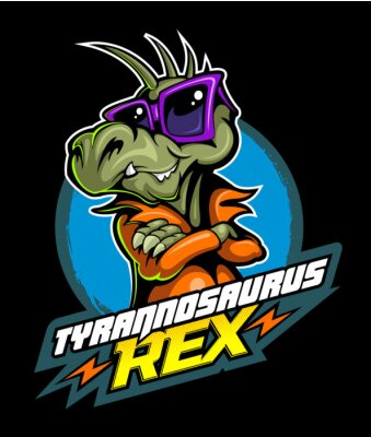 Poster Comic book, cartoon style tyrannosaurus in the leather jacket and with the sunglasses, vector image