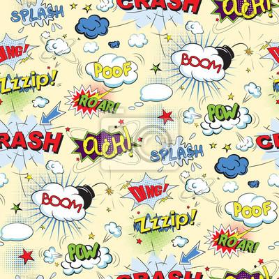 Poster Comic fumetti pop nero stile art seamless pattern