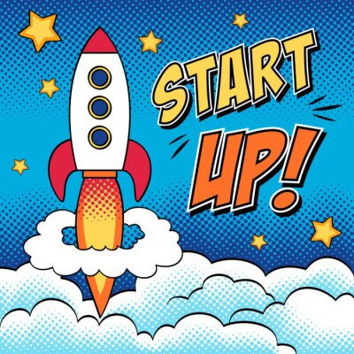 Poster Comic illustrazione di start up concetto con un razzo in pop art