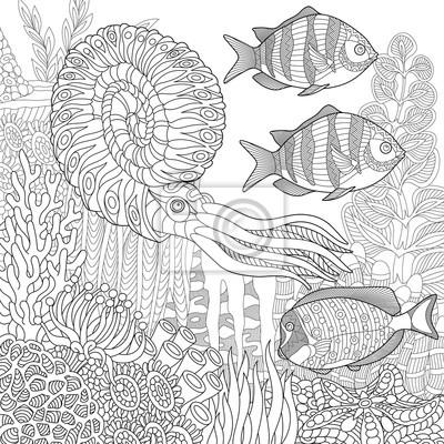 Composizione Stilizzata Di Pesci Tropicali Calamari Calamari