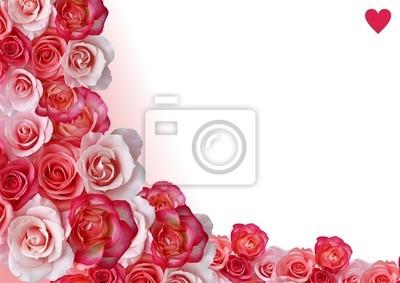Confine Astratto Fiori Sfondo Bianco E Rosa Manifesti Da Muro