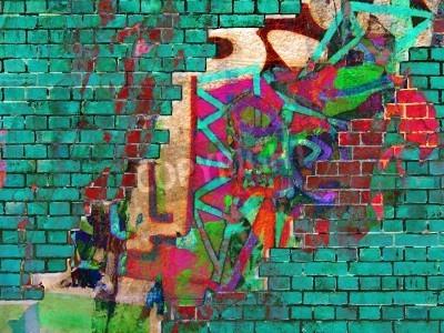 Poster Consistenza Graffiti. Collage astratto.