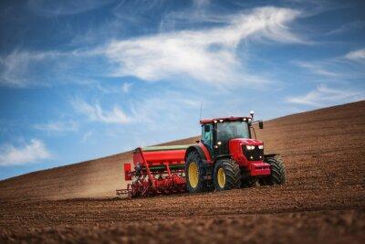 Poster Contadino con le colture trattore semina al campo