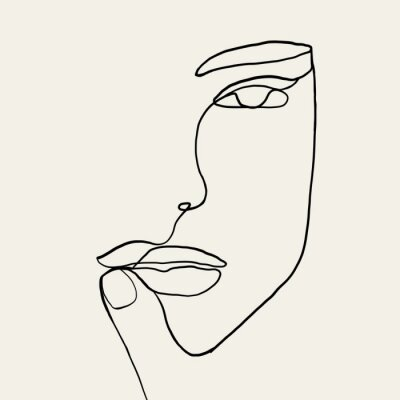 Poster Continuous line, drawing of woman face with hand on face , fashion concept, woman beauty minimalist, vector illustration for t-shirt, slogan design print graphics style. One line fashion illustration