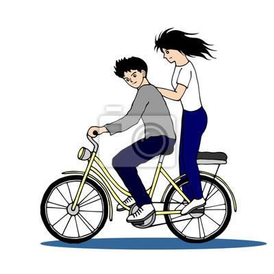 Poster coppia cute andare in bici, disegnata a mano, illustrazione di progettazione