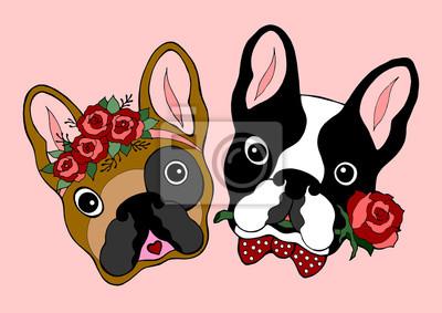 Poster coppia cute bulldog francese incontri, disegnati a mano illustrazione