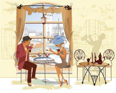 Poster Coppia, uomo e donna, nel caffè.