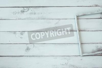 Poster Cornice in legno su sfondo shabby chic menta