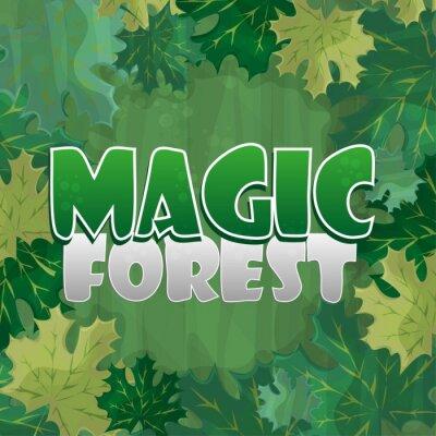 Poster Cornice per la decorazione del testo. Foresta incantata con foglia d'acero verde - fumetto