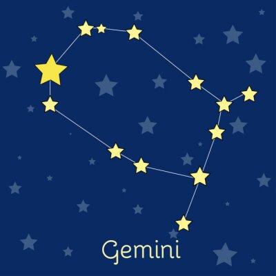 Poster costellazione dei Gemelli Air zodiacale con le stelle nel cosmo. immagine vettoriale