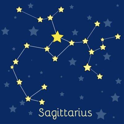 Poster costellazione del Sagittario Fuoco zodiacale con le stelle nel cosmo. immagine vettoriale