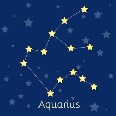 Poster costellazione dell'Acquario acqua zodiacale con le stelle nel cosmo. immagine vettoriale