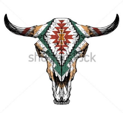 Poster Cranio di toro / auroch con le corna su fondo bianco. con ornamento tradizionale sulla testa
