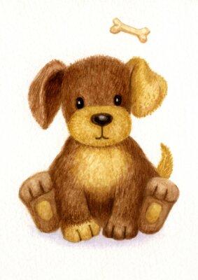 Poster cucciolo carino, acquarello.