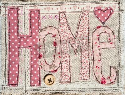 Poster cucito shabby testo casa chic sfondo decorazione