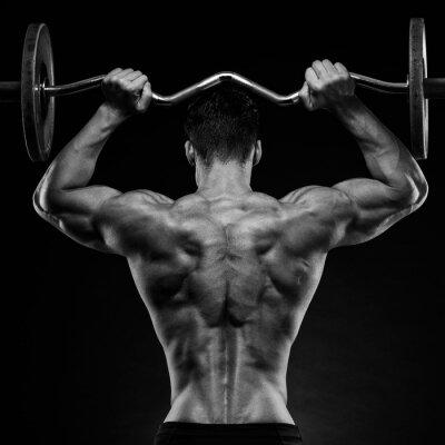 Poster culturista mostrando la schiena