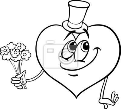 Cuore Di San Valentino Con La Pagina Fiori Da Colorare Manifesti Da