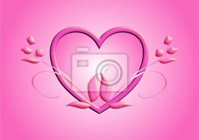 Poster Cuore Rosa Con Fiori Su Sfondo Rosa