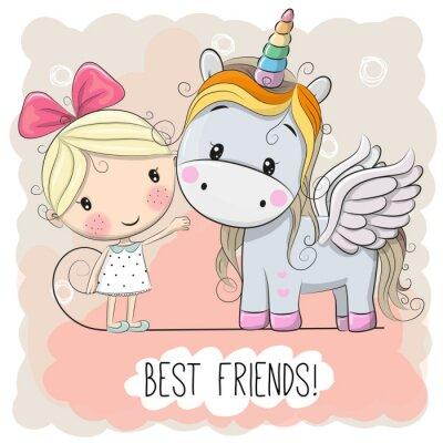 Poster Cute Cartoon Girl e Unicorno