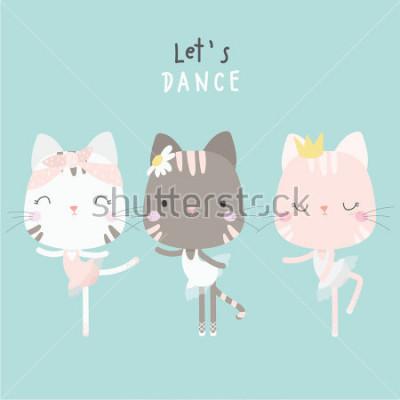 Poster cute cat dance