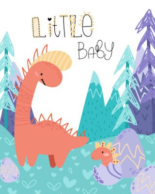 Poster Cute childish hand drawing. Prehistoric period. Vector scandinavian illustration. Sketch of jurassic reptiles. Cartoon dinosaurs, eggs, mountains. Template baby banner, greeting card, invitation