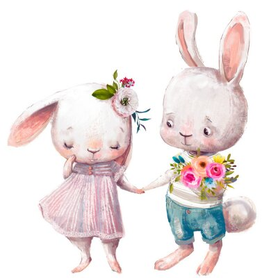 Poster cute couple of hares