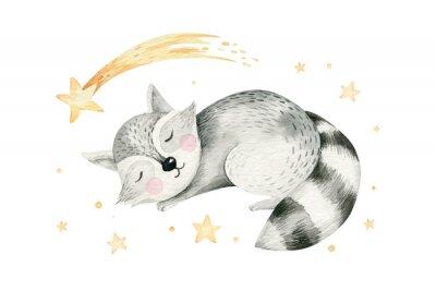 Poster Cute dreaming cartoon cartoon animal hand drawn watercolor illustration. Sleeping charecher kids nursery wear fashion design, baby shower invitation card.