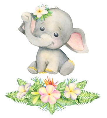 Poster cute elephant, sitting . Children's painting, watercolor, tropical plants and flowers.