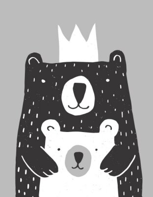 Poster Cute Hand Drawn Big Bear and Little Baby Bear Vector Illustration. Gender Neutral Colors Nursery Art for Card, Invitation, Father's or Mother's Day. Big Black Daddy or Mommy Bear with White Crown.