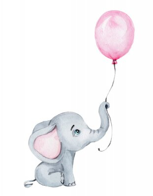 Poster Cute little elephant with pink balloon; watercolor hand draw illustration; with white isolated background