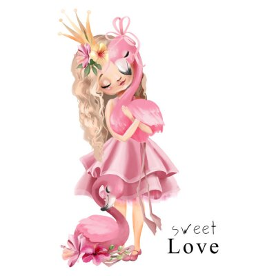 Poster Cute princess girl in the pink dress and gold crown with flamingo and flowers