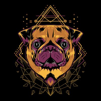 Poster Cute Pug Dog Vector Crystal Geometry Illustration in Black Background