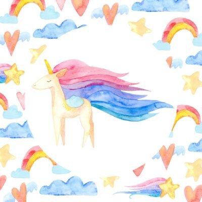 Poster Cute unicorn horse. Fairytale children sweet dream. Rainbow animal horn character. Frame border ornament square. Aquarelle wild animal,  rainbow, heart, stars, clouds