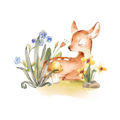 Poster Cute Watercolor Baby Deer with the blue ribbon surrounded by wild flowers and mushrooms over white. Baby Deer sleeping in the forest. Isolated. Nursery print for baby girl oa boy.