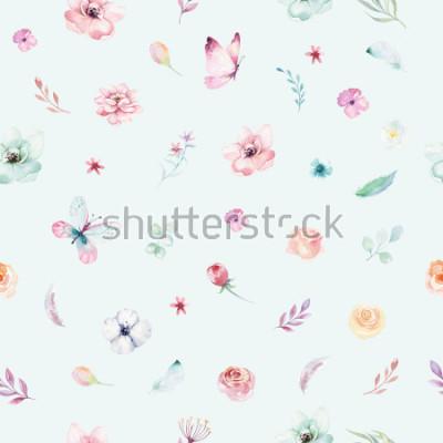 Poster Cute watercolor unicorn seamless pattern with flowers. Nursery magical unicorn patterns. Princess rainbow texture. Trendy pink cartoon pony horse.
