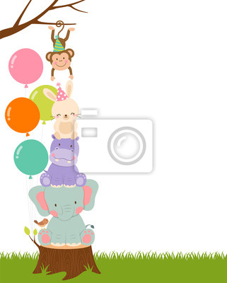 Poster Cute wildlife cartoon animals with copy space for party invitation card template