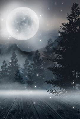Poster  Dark abstract winter forest background. Wooden floor, snow, fog. Dark night background in the forest with moonlight. Night view, magic