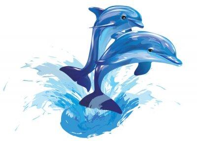 Poster delfini che saltano