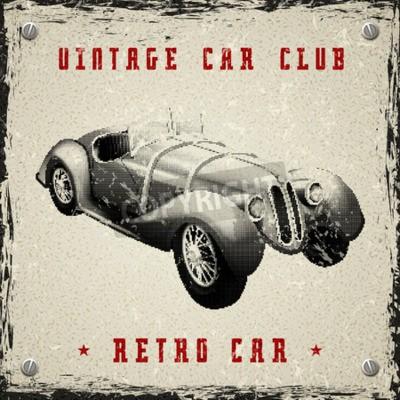 Poster design vintage manifesto auto con stampa pixel mezzitoni tessitura