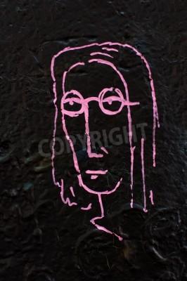 Poster Dettaglio da un famoso muro di Lennon a Praga