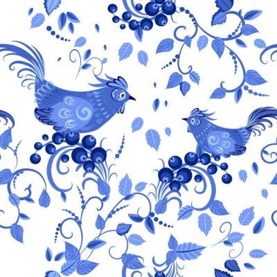 Poster di modo seamless texture di fiori stilizzati