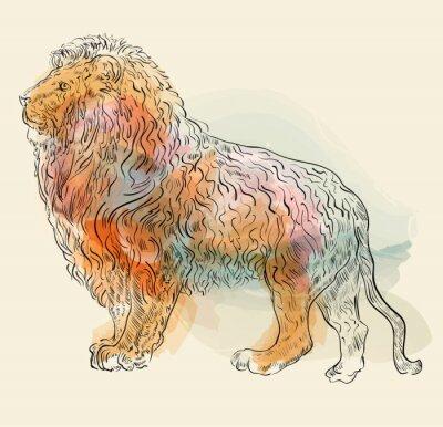 Poster disegnata a mano illustrazione vettoriale con leone